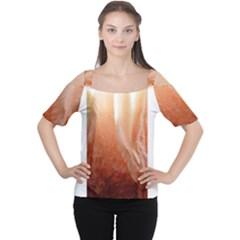 Floating Peach Women s Cutout Shoulder Tee by timelessartoncanvas