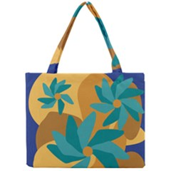Urban Garden Abstract Flowers Blue Teal Carrot Orange Brown Mini Tote Bag by CircusValleyMall
