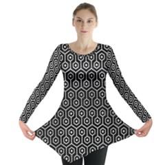 Hexagon1 Black Marble & Silver Brushed Metal Long Sleeve Tunic