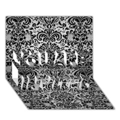 Damask2 Black Marble & Silver Brushed Metal (r) You Are Invited 3d Greeting Card (7x5) by trendistuff