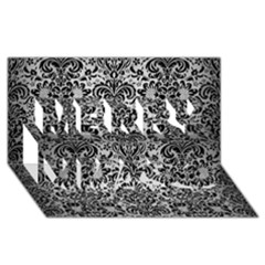 Damask2 Black Marble & Silver Brushed Metal (r) Merry Xmas 3d Greeting Card (8x4) by trendistuff