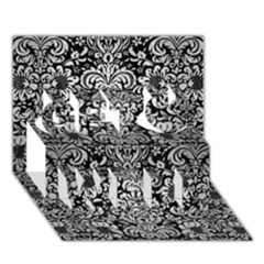 Damask2 Black Marble & Silver Brushed Metal Get Well 3d Greeting Card (7x5) by trendistuff