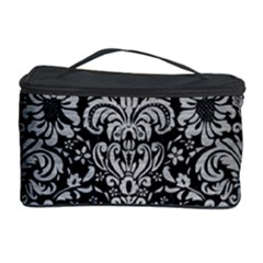 Damask2 Black Marble & Silver Brushed Metal Cosmetic Storage Case by trendistuff
