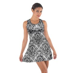 Damask1 Black Marble & Silver Brushed Metal (r) Cotton Racerback Dress