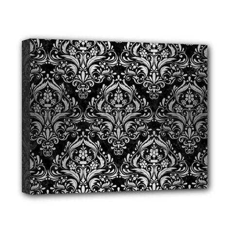 Damask1 Black Marble & Silver Brushed Metal Canvas 10  X 8  (stretched) by trendistuff