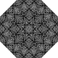 Damask1 Black Marble & Silver Brushed Metal Hook Handle Umbrella (large) by trendistuff