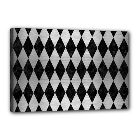 Diamond1 Black Marble & Silver Brushed Metal Canvas 18  X 12  (stretched) by trendistuff