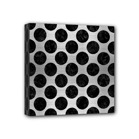Circles2 Black Marble & Silver Brushed Metal (r) Mini Canvas 4  X 4  (stretched) by trendistuff