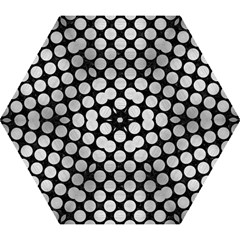 Circles2 Black Marble & Silver Brushed Metal Mini Folding Umbrella by trendistuff