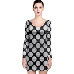 Circles2 Black Marble & Silver Brushed Metal Long Sleeve Bodycon Dress by trendistuff