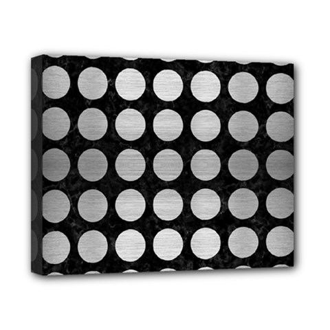 Circles1 Black Marble & Silver Brushed Metal Canvas 10  X 8  (stretched) by trendistuff