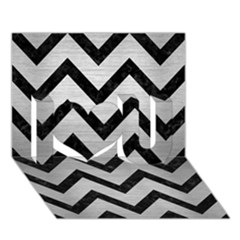 Chevron9 Black Marble & Silver Brushed Metal (r) I Love You 3d Greeting Card (7x5) by trendistuff