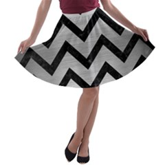 Chevron9 Black Marble & Silver Brushed Metal (r) A Line Skater Skirt by trendistuff