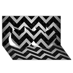 Chevron9 Black Marble & Silver Brushed Metal Twin Hearts 3d Greeting Card (8x4)