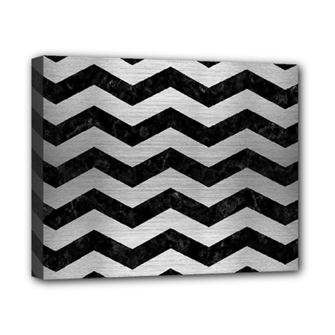 Chevron3 Black Marble & Silver Brushed Metal Canvas 10  X 8  (stretched) by trendistuff
