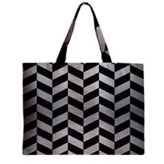 Chevron1 Black Marble & Silver Brushed Metal Zipper Mini Tote Bag by trendistuff