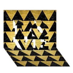 Triangle2 Black Marble & Gold Brushed Metal Love 3d Greeting Card (7x5) by trendistuff
