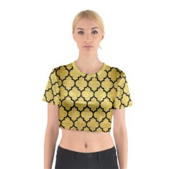 Tile1 Black Marble & Gold Brushed Metal (r) Cotton Crop Top by trendistuff