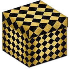 Square2 Black Marble & Gold Brushed Metal Storage Stool 12  by trendistuff