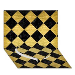 Square2 Black Marble & Gold Brushed Metal Heart Bottom 3d Greeting Card (7x5) by trendistuff