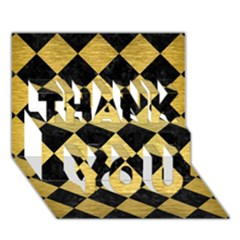 Square2 Black Marble & Gold Brushed Metal Thank You 3d Greeting Card (7x5) by trendistuff