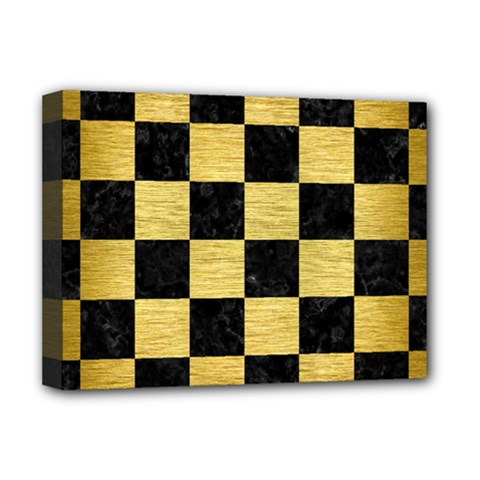 Square1 Black Marble & Gold Brushed Metal Deluxe Canvas 16  X 12  (stretched)  by trendistuff