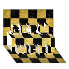 Square1 Black Marble & Gold Brushed Metal Get Well 3d Greeting Card (7x5) by trendistuff