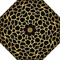 Skin1 Black Marble & Gold Brushed Metal (r) Folding Umbrella by trendistuff