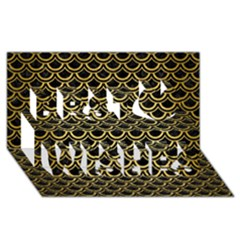 Scales2 Black Marble & Gold Brushed Metal Best Wish 3d Greeting Card (8x4) by trendistuff