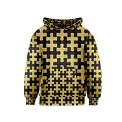 PUZ1 BK MARBLE GOLD Kids  Pullover Hoodie by trendistuff