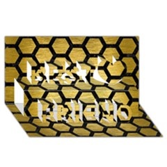 Hexagon2 Black Marble & Gold Brushed Metal (r) Best Friends 3d Greeting Card (8x4) by trendistuff