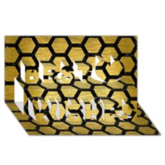 Hexagon2 Black Marble & Gold Brushed Metal (r) Best Wish 3d Greeting Card (8x4) by trendistuff
