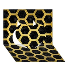 Hexagon2 Black Marble & Gold Brushed Metal Heart 3d Greeting Card (7x5) by trendistuff