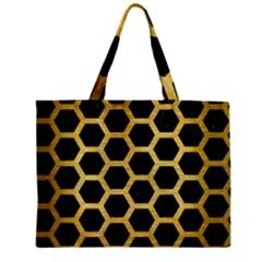 Hexagon2 Black Marble & Gold Brushed Metal Zipper Mini Tote Bag by trendistuff