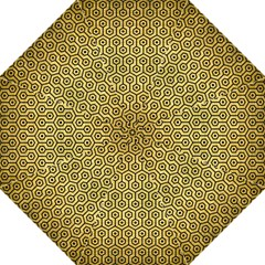 Hexagon1 Black Marble & Gold Brushed Metal (r) Golf Umbrella by trendistuff