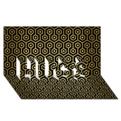 Hexagon1 Black Marble & Gold Brushed Metal Hugs 3d Greeting Card (8x4) by trendistuff