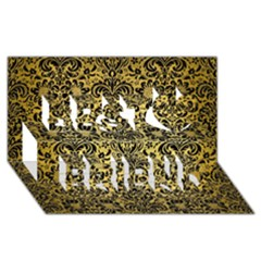 Damask2 Black Marble & Gold Brushed Metal (r) Best Friends 3d Greeting Card (8x4) by trendistuff