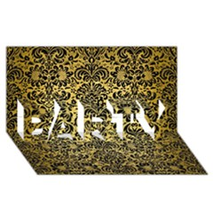 Damask2 Black Marble & Gold Brushed Metal (r) Party 3d Greeting Card (8x4) by trendistuff