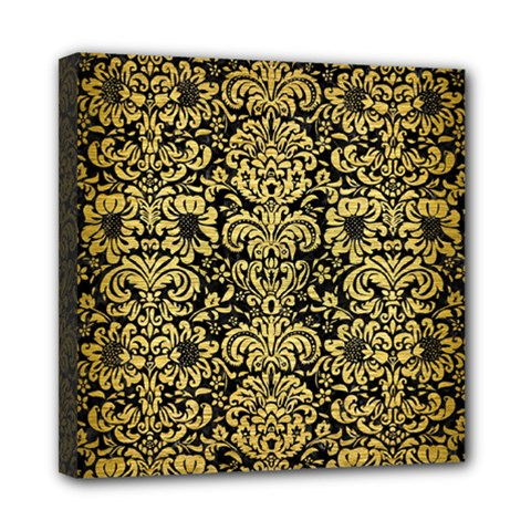 Damask2 Black Marble & Gold Brushed Metal Mini Canvas 8  X 8  (stretched) by trendistuff