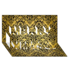 Damask1 Black Marble & Gold Brushed Metal (r) Merry Xmas 3d Greeting Card (8x4) by trendistuff