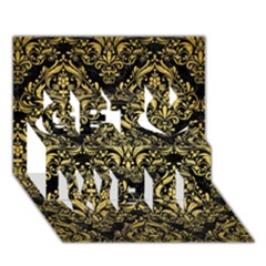 Damask1 Black Marble & Gold Brushed Metal Get Well 3d Greeting Card (7x5) by trendistuff