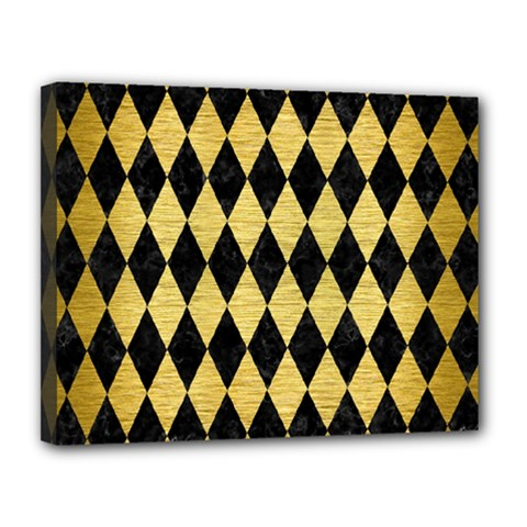 Diamond1 Black Marble & Gold Brushed Metal Canvas 14  X 11  (stretched) by trendistuff