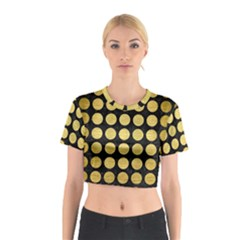 Circles1 Black Marble & Gold Brushed Metal Cotton Crop Top