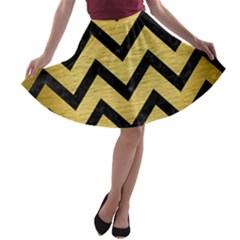 CHV9 BK MARBLE GOLD (R) A-line Skater Skirt