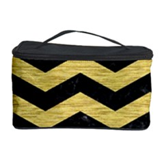 Chevron3 Black Marble & Gold Brushed Metal Cosmetic Storage Case by trendistuff