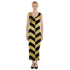 Chevron2 Black Marble & Gold Brushed Metal Fitted Maxi Dress by trendistuff