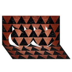 Triangle2 Black Marble & Copper Brushed Metal Twin Hearts 3d Greeting Card (8x4) by trendistuff