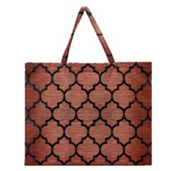 Tile1 Black Marble & Copper Brushed Metal (r) Zipper Large Tote Bag by trendistuff