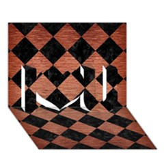 Square2 Black Marble & Copper Brushed Metal I Love You 3d Greeting Card (7x5) by trendistuff