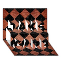 Square2 Black Marble & Copper Brushed Metal Take Care 3d Greeting Card (7x5) by trendistuff